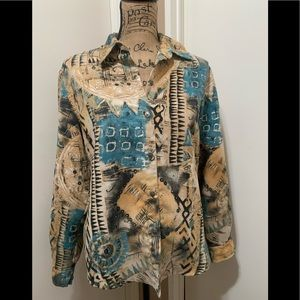 Chico's Long Sleeve Shirt Size 1 Western Style